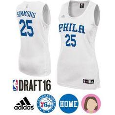 new arrival 5422f ac8cb Women s 2016 NBA Draft Ben Simmons White Jersey