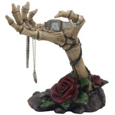 Spooky Skeleton Hands Jewelry Stand with Tray Display Rack and Red Roses or Decorative Key Holder Statue for Scary Halloween Decorations or Gothic Décor As Gifts for Women