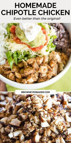 Copycat Chipotle Chicken Recipe - This copycat recipe for Chipotle chicken is spot-on, and arguably even better than the original! Chipotle Chicken Copycat, Homemade Chipotle, Chipotle Recipes, Homemade Mayonnaise, Mexican Chicken Recipes, Baked Chicken Recipes, Recipe Chicken, Healthy Dinner Recipes, Appetizer Recipes