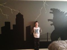 My Godzilla obsessed son LOVES his bedroom wall mural.