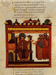 Biblia de San Isidoro de León (s. X). Escena efigiando al rey y sus vasallos. (Foto Manuel Viñayo)