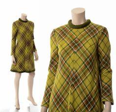 Vintage 60s 70s Mod Wool Plaid Dress 1960s by CkshopperVintage