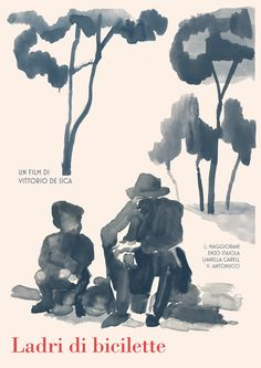 """Posters for """"Ladri di biciclette"""" Bicycle Thieves - 1948 by Vittorio De Sica."""