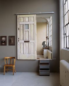 Another example of a vintage door on sliders. Perfect!
