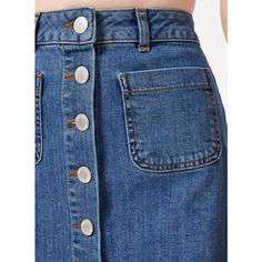 Miss Selfridge Mid Wash Denim Skirt ($49) ❤ liked on Polyvore featuring skirts, dark blue, denim skirt, blue skirt, knee length denim skirt, miss selfridge and blue denim skirt