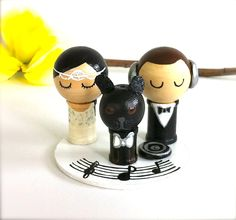 Dj Music Themed Wedding Cake Topper And Pet Custom Kokeshi Spool Doll 3d Clay…