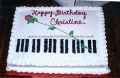 This piano cake was made by me for a friend of my daughter in elementary school. This girl ended up getting a masters in piano. One of my favorites! Piano Cakes, Music Cakes, Music Themed Parties, Music Party, Cake Icing, Cupcake Cakes, Cupcakes, Piano Recital, Retirement Cakes