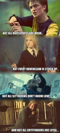 I just CANNOT stand it when people just JUDGE Slytherin because their Slytherin. Just in a way it's like rascism!