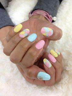 nails #nail #unhas #unha #nails #unhasdecoradas #nailart #pastel #amarelo #yellow #pink #rosa #blue #azul