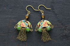 Colorful Fringe Earrings with Czech Beads by MusingTreeStudios