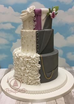 """THE """"HIS & HERS"""" wedding cake - cake by Mirtha's P-arty Cakes"""