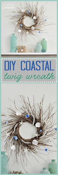 This DIY home decor Coastal Wreath is made from the twigs and seashells you'll find on the beach this summer. Create your very own gorgeous coastal home decor today! * Check this useful article by going to the link at the image. #UsefulHomeDecor