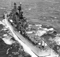 Guided missile cruiser USS Canberra at sea, 19 Jan 1961