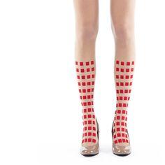 Tights Leggings Square Geometry// Black Red Square Flocking Leggings// Nude Tights Stockings Japan on Etsy, $38.00