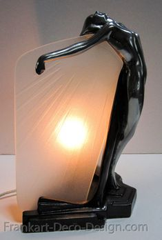 art deco furniture Frankart Butterfly Nymph art deco table lamp in polished aluminum and glass Lampe Art Deco, Art Deco Table Lamps, Art Deco Decor, Art Deco Stil, Art Deco Design, Lamp Design, Art Nouveau, Art Deco Period, Art Deco Era