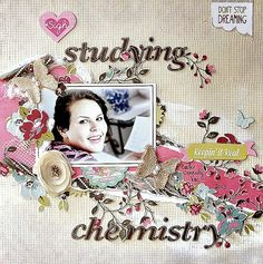 SCRAP ADDICT: 'Studying Chemistry' Layout' My Creative Scrapbook Limited Edition Kit July 2013 - Webster's Pages Plum Seed