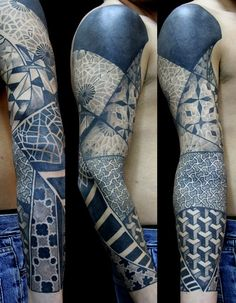 ANd another by Orge Kalodimas of Saketattoocrew... beautifully designed, ornate patterns with echoes of Escher (again — popular reference, that one!) and more than a hint of Delft pottery designs, especially in this blue.