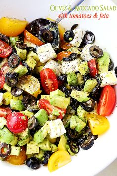 Olives and Avocado Salad with Tomatoes and Feta Cheese - Diethood