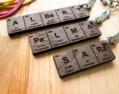 Wooden keychain birthday gift idea best friend keyring keychains periodic table name keychain gifts for him gifts for her urtaz Gallery