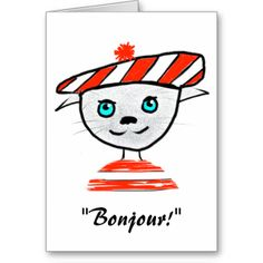 French Cat Birthday Card