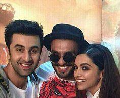 OMG: Deepika poses with her 'Hotties', Ranveer and Ranbir!! | PINKVILLA