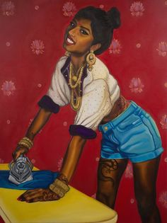 """Nimisha's collection of pinups includes a series called """"Badass Bahus,"""" which confronts expectations from Indian women as housewives."""