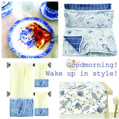 China Blue porcelain patterns bedding towels tablecloth morning ritual