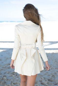 Beige Bow Back Zip Up Tie Front Jacket #ustrendy www.ustrendy.com