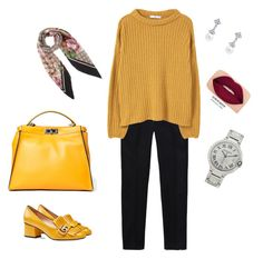 """""""Untitled #26"""" by dhuratamerello ❤ liked on Polyvore featuring Gucci, MANGO, Fendi, Smashbox and Cartier"""