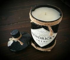 Hendrick's Gin candle bottle crafts candle Your place to buy and sell all things handmade Wine Candles, Bottle Candles, Candle Jars, Hendricks Gin Bottle Ideas, Recycled Glass Bottles, Candle Craft, Candle Packaging, Chandeliers, Liquor Bottles