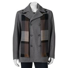 Big & Tall Towne Wool-Blend Double-Breasted Peacoat with Plaid Scarf, Men's, Size: Xl Tall, Med Grey