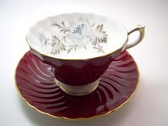 Aynsley Tea Cup and Saucer Aynsley Maroon red tea by BeadsbyVince