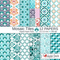 """Mosaic Tile Digital Papers - 12x12"""" - Moroccan - Persian - scrapbooking paper - 300 dpi - instant download - commercial use by TheDigitalFinch on Etsy"""