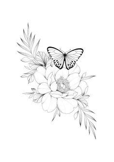 Girly Tattoos, Pretty Tattoos, Body Art Tattoos, Small Tattoos, Sleeve Tattoos, Floral Tattoo Design, Flower Tattoo Designs, Flower Tattoos, Butterfly With Flowers Tattoo