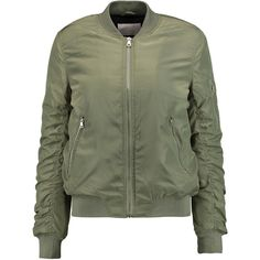 W118 by Walter Baker - Tasha Padded Shell Bomber Jacket (€90) ❤ liked on Polyvore featuring outerwear, jackets, tops, army green, military green bomber jacket, zip front jacket, olive green bomber jacket, padded jacket and green military jacket