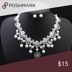 "LACE & PEARLS!! ❤ Lovely lace with faux pearls & rhinestones on this romantic silver necklace with pearl stud earrings. Necklace measures 18"" & earrings are just over 1/4"" around. Lovely, just lovely! Fashion Jewelry Jewelry Necklaces"