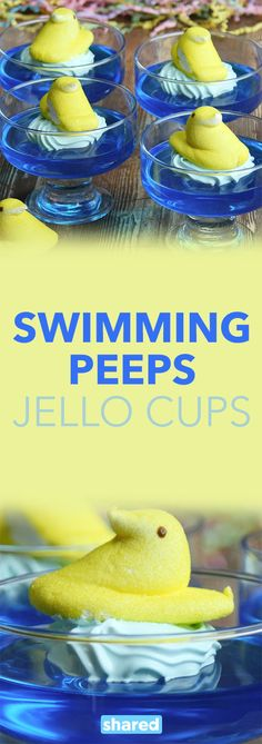 """Easter is coming, which means it's almost time to eat some yummy sweet treats! Well, realistically you can eat sweet treats anytime, but now's the time for some marshmallow Peeps! This recipe for Swimming Peeps Jello Cups is ridiculously easy, and so adorable. You and your guests will love peeking at them """"swimming"""" along in their little glasses!"""