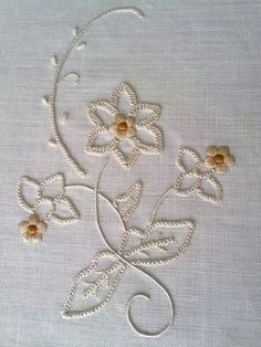 Such a pretty pattern which would look gorgeous on a white dress or top 💝 Embroidery Flowers Pattern, Embroidery Works, Hand Embroidery Stitches, Machine Embroidery Patterns, Crewel Embroidery, Hand Embroidery Designs, Embroidery Techniques, Embroidery Thread, Beaded Embroidery