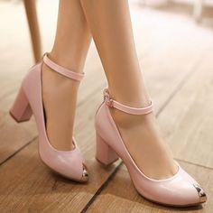 4c245f4eddf Medium Heels Platform Summer Pumps Elegant Pointed Toe Ankle Strap Summer Pumps  Shoes