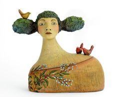 """Isabelle Found a Delightful Alternative to the Chip on Her Shoulder"" Original ceramic sculpture by Jacquline Hurlbert Paper Mache Sculpture, Pottery Sculpture, Sculpture Art, Ceramic Sculptures, Garden Sculpture, Ceramic Pottery, Ceramic Art, Ceramic Sculpture Figurative, Clay Art Projects"