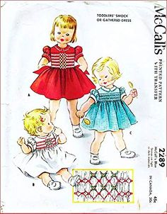 McCall's 2289 Toddler Dress with Smoking, Gathered to Yoke, Blue Transfer Included, Vintage Sewing Pattern, Check Lis... Sewing Patterns For Kids, Mccalls Sewing Patterns, Smocking Patterns, Vintage Sewing Patterns, Sock Dolls, Baby Bonnets, Fabric Material, Kids Girls, Fabric Sewing