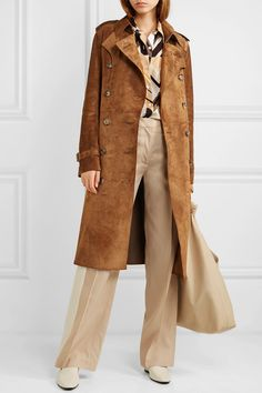 Burberry The Haddington Double-breasted Suede Trench Coat - Brown - ShopStyle Suede Trench Coat, Trench Coat Outfit, Leather Fashion, Fashion Shoes, Minimalist Fashion, Minimalist Style, Jeans Style, Casual Outfits, Suede Outfits