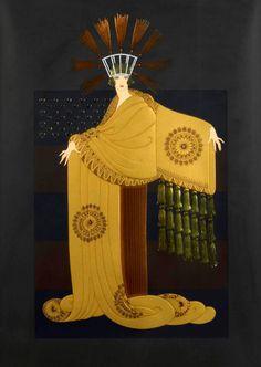 Tassel Gown, from the American Millionairess Suite, embossed color screenprint Art Deco Illustration, Erte Art, Art Deco Artists, Art Deco Dress, Art Deco Stil, Inspiration Art, Romain De Tirtoff, Art Deco Posters, Art Moderne