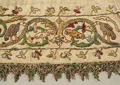 Detail of embroidery on Stockings Date: century Culture: Italian Medium: linen, silk and metal thread Dimensions: Length 29 in. cm) Accession Number: The Metropolitan Museum of Art Medieval Embroidery, Crewel Embroidery, Embroidery Patterns, Border Embroidery, Vintage Embroidery, Crazy Quilting, Mode Baroque, Textiles, Antique Lace