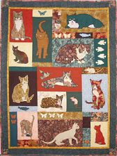 Too Many Cats 1, Machine Applique Printed Pattern by Debora Konchinsky