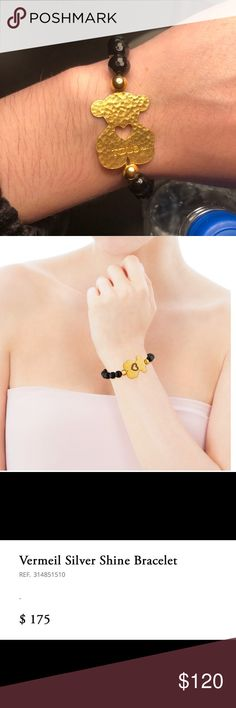 Tous silver vermeil silver shine bracelet New! Comes with dust bag TOUS Shine bracelet in silver vermeil, spinel and onyx. Size: 2.5 cm. Length: 16.5 cm. Vermeil: Sterling silver plated with a layer of 18kt yellow gold. Tous Jewelry Bracelets