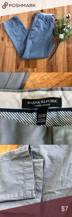Banana Republic gray Aiden Chino in GUC These comfortable light gray Aiden chinos from Banana Republic are a great addition to any working professional's closet. There is some slight discoloration near the front button as shown in the second to last picture as well as some natural wear in the back pocket from my husband's wallet. Bundle with other items from my closet for the best deal! Banana Republic Pants Chinos & Khakis