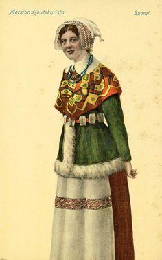 traditional bride's attire in Houtskar archipelago, Finland, early 19th century.