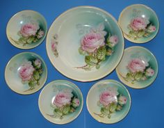 ANTIQUE BAVARIA PORCELAIN BERRY BOWL SET PINK ROSES 1900s GERMANY 7 p RARE EXCL