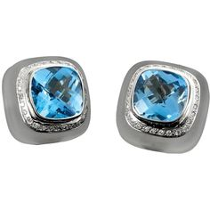18k White Gold Frosted Rock Crystal, Blue Topaz, & Diamond Earrings ($4,850) ❤ liked on Polyvore featuring jewelry, earrings, blue topaz earrings, white gold diamond earrings, diamond earrings, diamond jewellery and white gold earrings